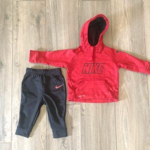 Toddler boy Red and black two piece Nike outfit.
